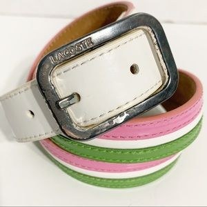 Lacoste Preppy Pink and Green Striped Leather Belt